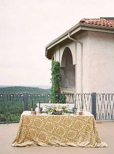 La Tavola Fine Linen Rental: Neiman Antique Gold | Photography: Tracy Enoch Photography, Design, Planning & Florals: Ambra Costner-Query Events, Venue: Villa Antonia TX, Rentals: Loot Vintage Rentals
