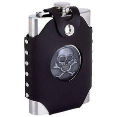 Maxam® 8oz Stainless Steel Flask w/ Skull & Cross Bones/Faux Leather Case #Maxam