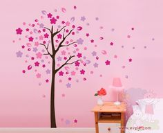 Wall Decals For Nursery - Cherry Blossom Tree Wall Decal Stickers - Baby Children Boy Girl Kids Nursery Wall Stickers, Kids Wall Decals, Wall Decal Sticker, Cherry Blossom Tree, Blossom Trees, Tree Design On Wall, Little Girl Rooms, Tree Wall, My New Room