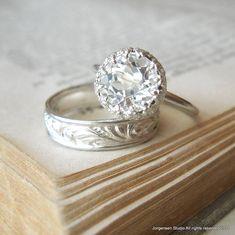 Verlobungsring Wedding Sterlingsilber groß weiß von jorgensenstudio, $104.00