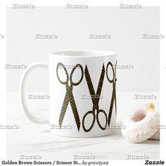 Golden Brown Scissors / Scissor Stripes Coffee Mug  by #Gravityx9 Designs at Zazzle