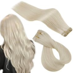 Sew in Double Weft Remy Hair Extensions Human Hair White Blonde #800 – RUNATURE Silver Hair Extensions, Bonded Hair Extensions, Sew In Hair Extensions, Real Human Hair Extensions, Remy Human Hair, Silver Blonde, White Blonde, Blonde Color, Lace Hair