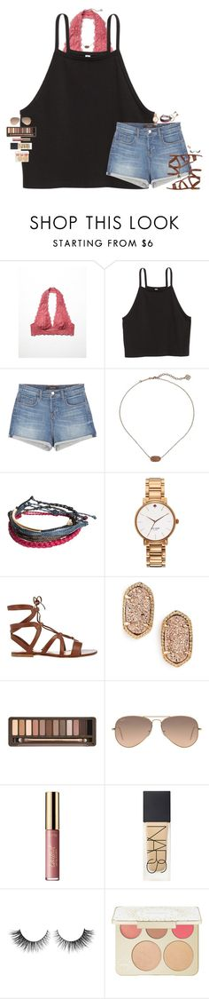 """• b o h o - p r e p •"" by maggie-prep ❤ liked on Polyvore featuring Free People, J Brand, Kendra Scott, Pura Vida, Kate Spade, Gianvito Rossi, Urban Decay, Ray-Ban, tarte and NARS Cosmetics"