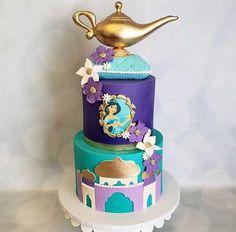 Jasmine Birthday Cake, Aladdin Birthday Party, Jasmine Party, Birthday Parties, Bee Cakes, Girl Cakes, Princess Jasmine Cake, Princess Cakes, Disney Princess