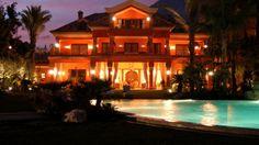 Luxury 12 Bed Marbella Beach Villa At Night. Click/tap for more info.