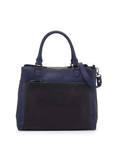 V24YT Danielle Nicole Colorblock Faux-Leather Tote Bag, Navy/Black