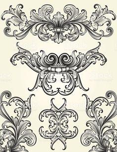 Ornate scrollwork design elements which. Motif Baroque, Baroque Pattern, Baroque Tattoo, Tattoo Schwarz, Tatoo Art, Carving Designs, Free Vector Art, Design Elements, Decoupage