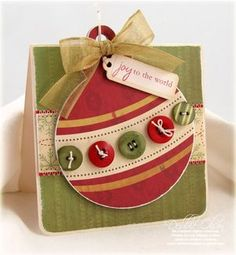 Joy to the World Christmas Card- Love the buttons!