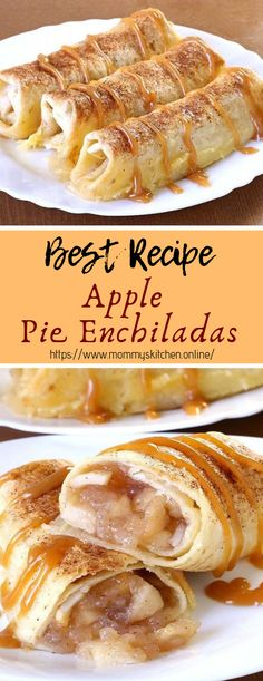 Apple Pie Enchiladas - Easy Food Delicious Baked Apple Pie Enchiladas give you all the cinnamony goodness of hot apple pie stuffed securely into a tortilla and drizzled with caramel s. Apple Pie Recipes, Best Dessert Recipes, Desert Recipes, Healthy Desserts, Easy Desserts, Mexican Food Recipes, Apple Recipes Easy Quick, Sweet Desserts, Brunch Recipes