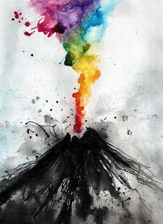 Black volcano colorful lava