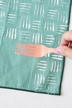 Stamp Hacks   Use an old (or plastic) fork as a stamp.
