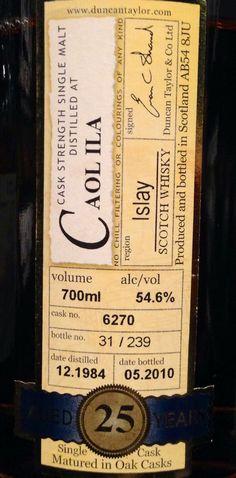 Call Ila 1984/2010 25yo 54.6% (239 bottles)