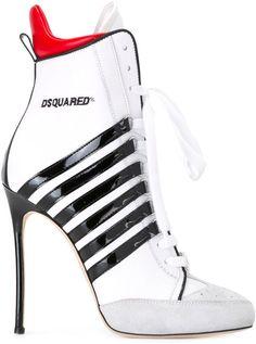 no & brun damesko online White High Heel Boots, White Lace Up Boots, Lace Up Heel Boots, Lace Up High Heels, Nike High Heels, Stiletto Boots, Black High Heels, High Heels Stilettos, White Shoes