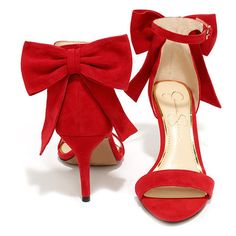 Jessica Simpson Millee Lipstick Red Suede Bow Heels ($95) ❤ liked on Polyvore featuring shoes, pumps, ankle strap pumps, red shoes, red ankle strap pumps, embellished shoes and red pumps