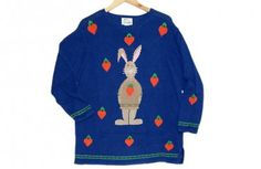 Quacker Factory Easter Bunny Tacky Ugly Sweater Womens Plus Size 1X Brand New! $45 (click thru--the back side has the back of the bunny!)