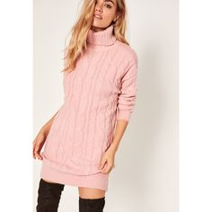 Missguided Pink Brushed Cable Knitted Roll Neck Jumper Dress ($72) ❤ liked on Polyvore featuring dresses, rose, turtleneck sweater dress, turtleneck dress, pink turtleneck, cable knit dress and pink day dress