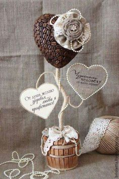 coffe bean art Diy Arts And Crafts, Diy Crafts, Coffee Bean Art, Handmade Home, Valentines Diy, New Tricks, Pots, Centerpieces, Creations