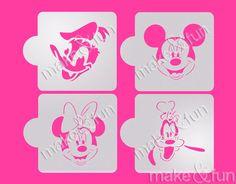 Disney Cookie Stencil Cupcake stencils cake stencil by makeandfun Mini Mouse Cookies, Disney Cookies, T Shirt Stencils, Face Stencils, Airbrush T Shirts, Animal Stencil, Cupcakes, Cookie Designs, Cookies Et Biscuits
