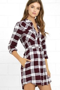 Venture to the great outdoors (or to brunch!) in the Olive & Oak Glamping Grounds Burgundy Plaid Long Sleeve Dress! Woven shirt dress with a plaid print. Plaid Dress, Striped Dress, Bodice, Neckline, White Plaid, Clothes Horse, Glamping, Sash, Passion For Fashion