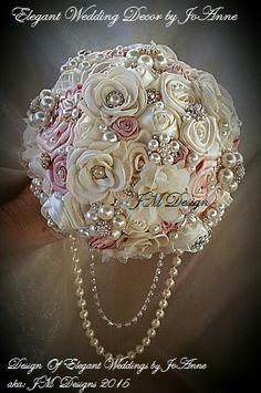 Fabric Flower Wedding Bouquet  CUSTOM by Elegantweddingdecor