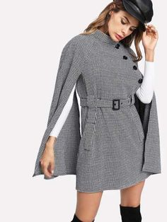 Shop Self Belted Houndstooth Cape Coat online. SheIn offers Self Belted Houndstooth Cape Coat & more to fit your fashionable needs. Shopping Queen, Winter Cape, Fall Winter, Coats For Women, Clothes For Women, Moda Chic, Cape Coat, Jackett, Houndstooth