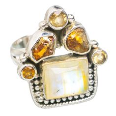 Yellow Moonstone, Citrine 925 Sterling Silver Ring Size 5.75 RING766348