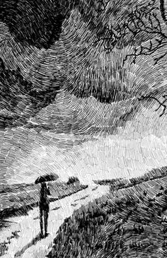 L'artiste français Nicolas Jolly crée des illustrations à base de petits traits noirs qui vus de loin ont l'apparence de former des empreintes digitales.