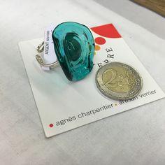 bague en verre de murano travaillée au chalumeaux - couleur turquoiseet transparence : Bague par bruitdeverre