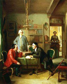 Mendelssohn a sinistra, Lavater a destra e Lessing in piedi, di Moritz Daniel Oppenheim, 1856
