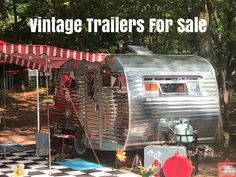 Searching for you perfect trailer to Glamp in? Vintage Trailers For Sale, Retro Trailers, Retro Campers, Vintage Travel Trailers, Vintage Campers, Camper Trailers, Camping Essentials, Camping Ideas, Camping Hacks