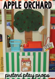 Fall is here and it is time for apple picking! Add this Apple Orchard Pretend Play Prop to your classroom for your Apple Unit. Fall Preschool Activities, Apple Activities, Preschool Apples, Preschool Apple Theme, Preschool Plans, Indoor Activities, Classroom Activities, Classroom Ideas, Dramatic Play Area