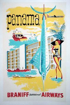 1955 Braniff Panama Poster