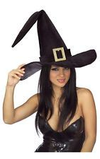 LARGE BLACK WITCH HAT WITH BUCKLE ADULT FANCY DRESS HALLOWEEN COSTUME ACCESSORY