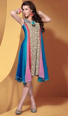 G3 fashions Beige multicolor georgette designer kurti  Product Code: G3-LKT300758 Price: INR RS 4386