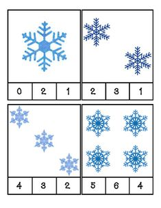 Winter - Snowflakes - Math - Count and Clip. by PreK Printables Shop Winter Activities For Toddlers, Preschool Learning Activities, Preschool Activities, Snowflakes For Kids, Block Center Preschool, Kids Math Worksheets, Winter Fun, Winter Snow, Crafts For Kids