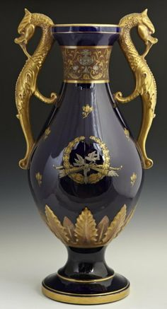 Large French Cobalt Blue Sevres Style Porcelain Vase, c., with gilt dragon form handles, and applied oak leaf an. Glass Ceramic, Ceramic Pottery, Ceramic Art, Slab Pottery, Fine Porcelain, Porcelain Ceramics, Porcelain Skin, Acorn Decorations, Antique China