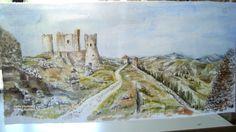 """""""Rocca Calascio"""" acquerello su seta E' un posto meraviglioso del mio Abruzzo....un posto dove sembra che il tempo si sia fermato"""