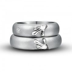 Titanium Matching Heart Wedding Ring Couple Rings 'Forever Love'