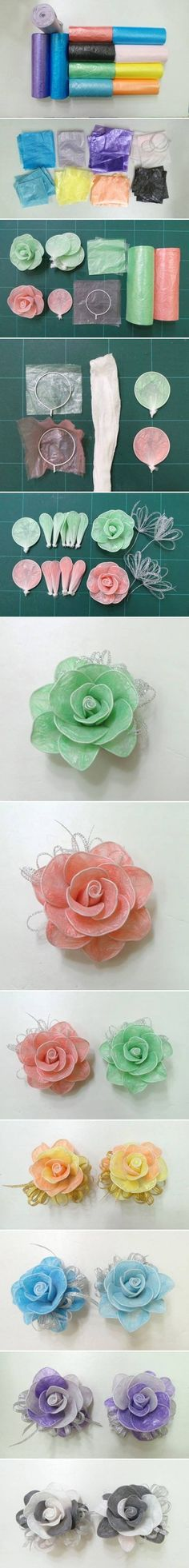 DIY Roses from Plastic Garbage Bags #craft #flower