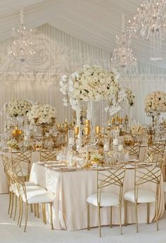 LOVES this look! White, blush, gold, glass, add some more greenery