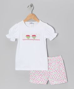 Take a look at this White Heart Smocked Tee & Shorts - Infant & Toddler on zulily today!
