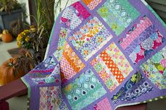 Modified Rail Fence quilt from Ginger Freckle (originally Elizabeth Hartman's pattern) using Terrain by Kate Spain.