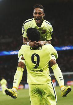 Neymar celebrating Luis Suarez's goal against PSG.