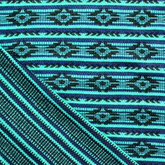Turquoise Navajo Jaquard Stripe Two Sided Cotton Jersey Knit Fabric :: $6.50