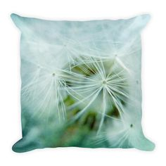 Dandelion Flower Macro Aqua Throw Pillow 18x18""
