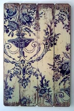 Idea for old wall paper or cool wrapping paper decoupaged on reclaimed wood