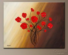 """Life is Grand"". Cute Red Flowers. Abstract Art Painting  http://www.carmenguedez.com/abstract-art-paintings/life-is-grand"