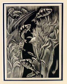 Clifford Webb (English, 1895-1972). Aquarium. 1950. (wood engraving)