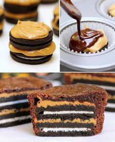 So yummy looking! Oreo peanut butter brownies!