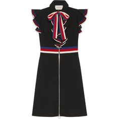 Gucci Sylvie Web Stretch Jersey Dress (104.285 RUB) ❤ liked on Polyvore featuring dresses, gucci, black, flouncy dress, stretch dresses, stretch jersey dress, flutter-sleeve dress and stretchy dresses